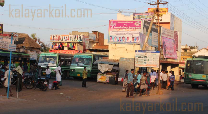 kalayarkoil bus stand located near by temple